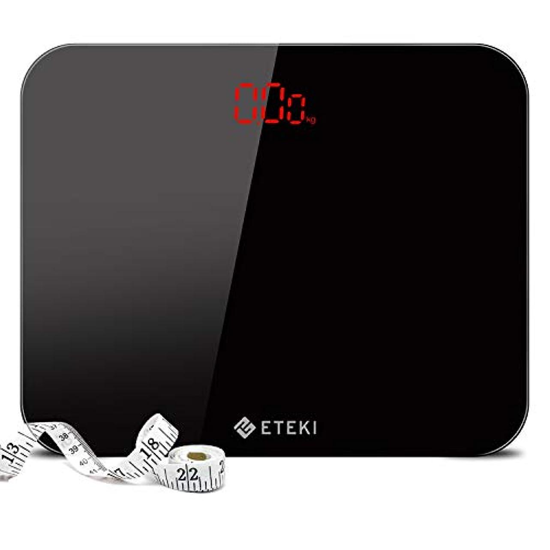 区画処方するめんどりEteki 体重計 ヘルスメーター デジタル 3kgから180kgまで測定でき おまけのメジャー付き 高精度のボディースケール 薄型で軽量収納しやすい 乗るだけで電源ON EB4010J電子スケール(電池付属)