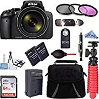 Nikon Coolpix p90016MP 83xスーパーズーム4K Wi - Fi GPSデジタルカメラ+ 64GBメモリ&アクセサリーバンドルキット