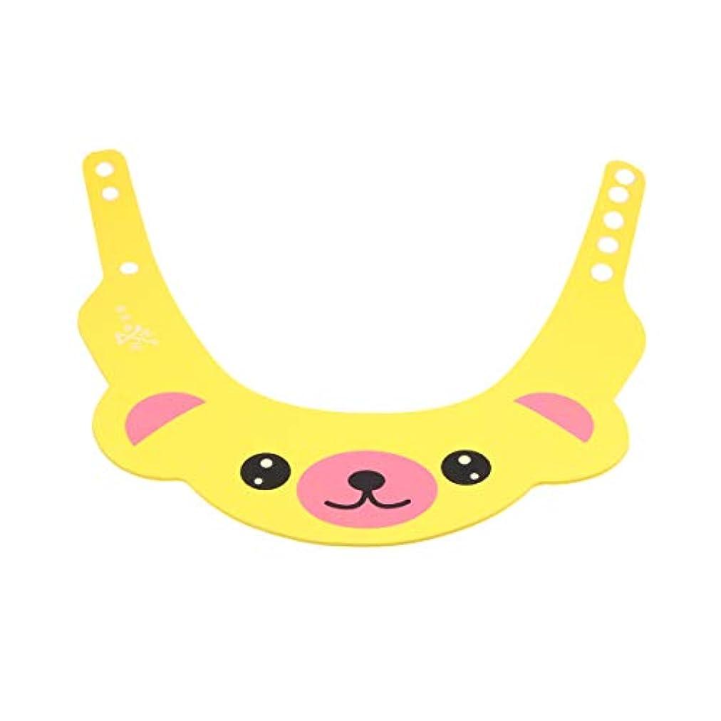 家族電気の悲しむHealifty 1ピースベビーシャワーキャップシャンプー入浴保護帽子クマ形状ソフトアジャスタブルバイザーキャップ用幼児子供ベビーキッズ(イエロー)