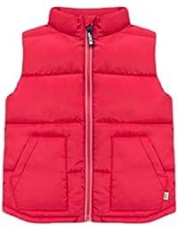 [チューカー] キッズ服 中綿ベスト ジャケット ノースリーブ ブルゾン 中綿入り キルティング 暖かい アウター 袖なし スタンドカラー 防寒コート ショート丈 男女兼用