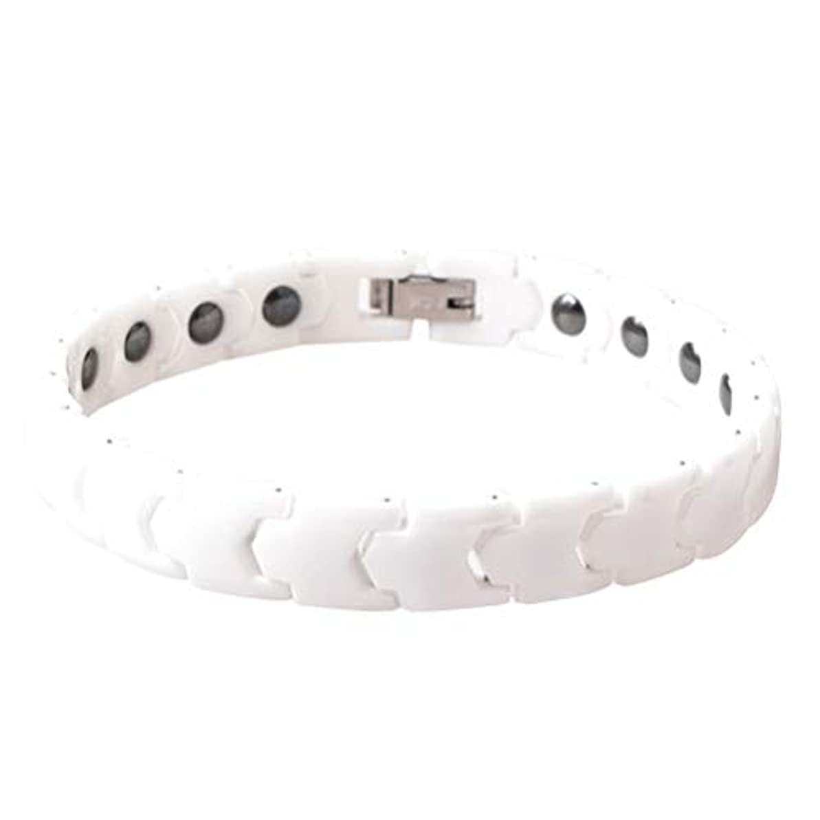 防止ポット従来のHealifty 女性用磁気ヘルスケアブレスレットチタンスチールブレスレットバングルメンズ(ホワイト)