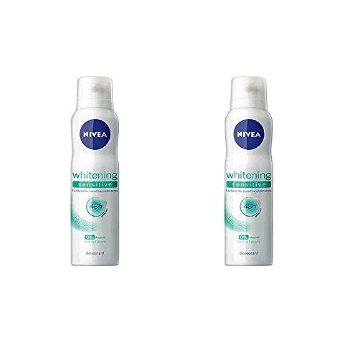 目に見えるチート法的Nivea 2 Lots X Whitening Sensitive 48 Hours Gentle Care Deodorant - 150ml