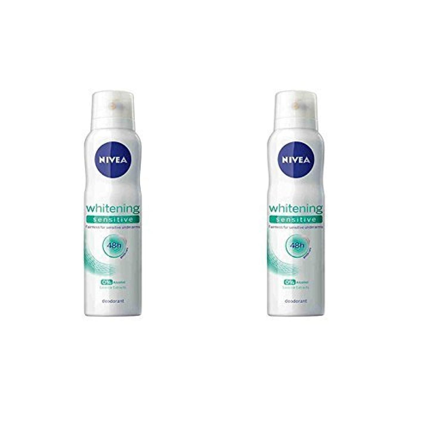 信じる腐った裸Nivea 2 Lots X Whitening Sensitive 48 Hours Gentle Care Deodorant - 150ml