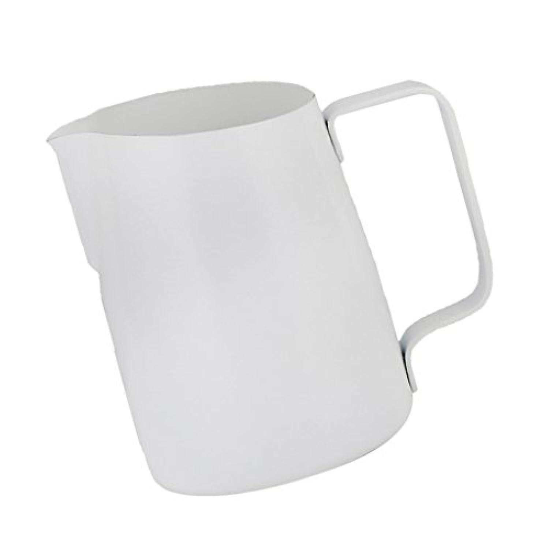 Baosity ステンレス コーヒー用品 ミルク泡立てジャグ 大容量 ミルク泡立て器  ミルクピッチャ ステンレス 2サイズ多色選べる - 白, 450ミリリットル
