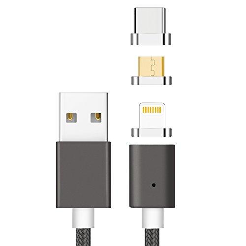 Zrse(ザスイ)【3in1ケーブル】第五世代iPhone Android Type-C 充電ケーブル マグネット式 LED Light 付き ...