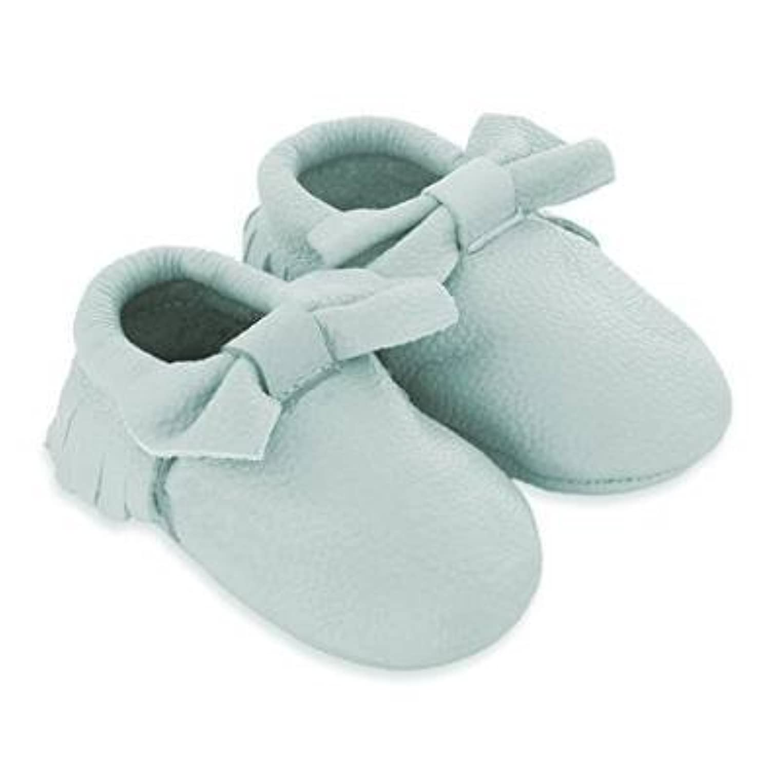 Mac and Lou Baby Bow Toddler Soft Sole Leather Moccasins Light Blue