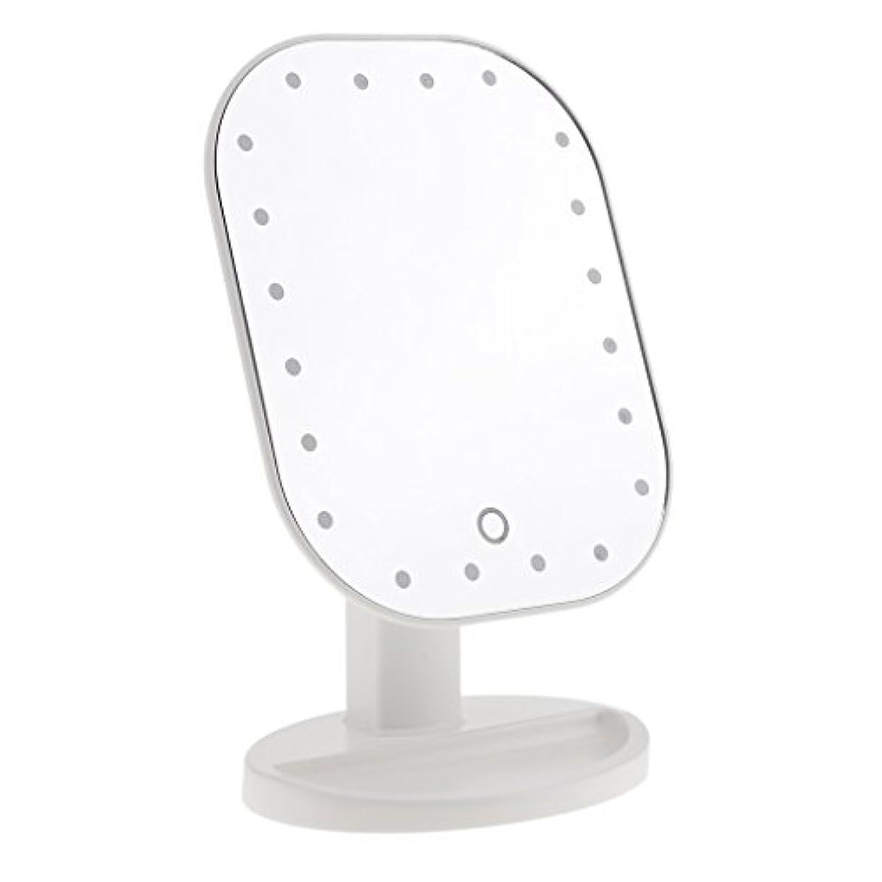 毒性輝度決定的LEDメイクミラー LED化粧鏡 メイクミラー LED女優ミラー 卓上スタンドミラー 180°回転 明るさ調整可 バッテリー式 全3色選べる - 白