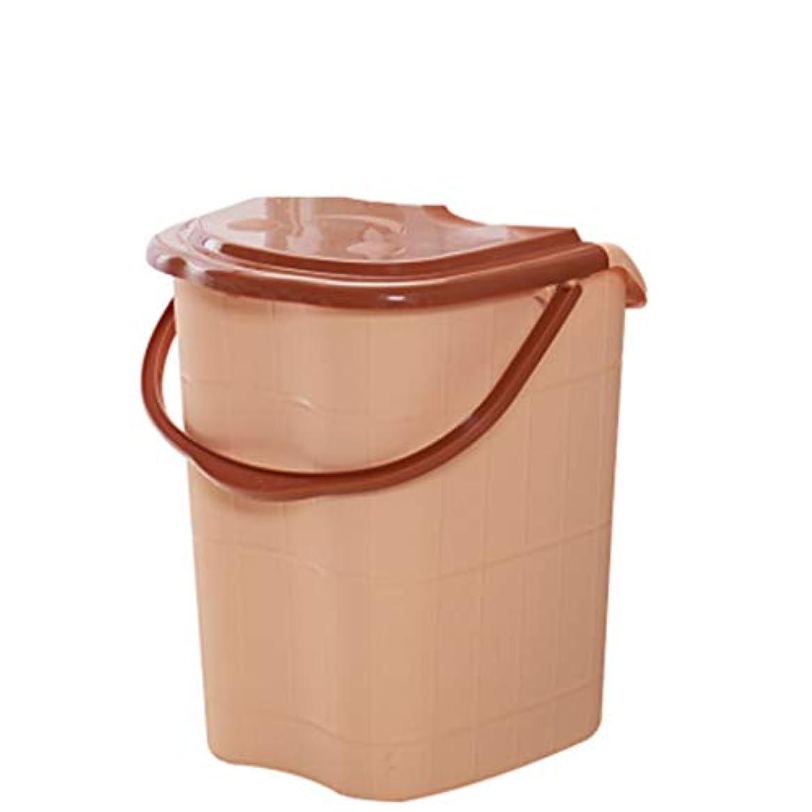 怠なパドル暴力BB- ?AMT高さ特大マッサージ浴槽ポータブルふた付きフットバスバケット熱保存デトックススパボウル 0405 (色 : Brown, サイズ さいず : 44*42*53cm)