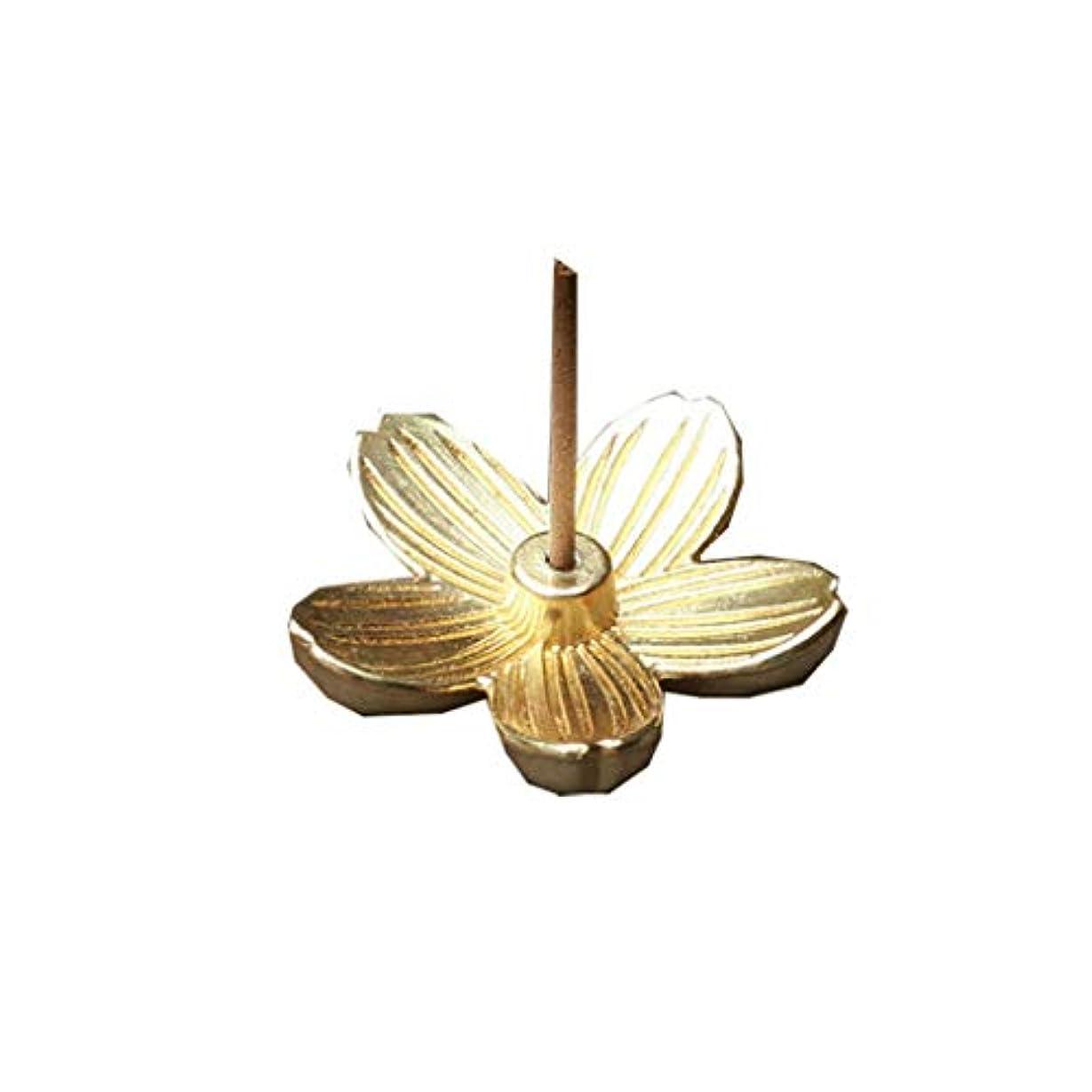 記述するカートリッジ詩クリエイティブヴィンテージ銅アートさくら型の香炉香スティックコーンホルダーホーム仏教の装飾誕生日お香ホルダー (Color : Gold, サイズ : 1.14*1.14inchs)