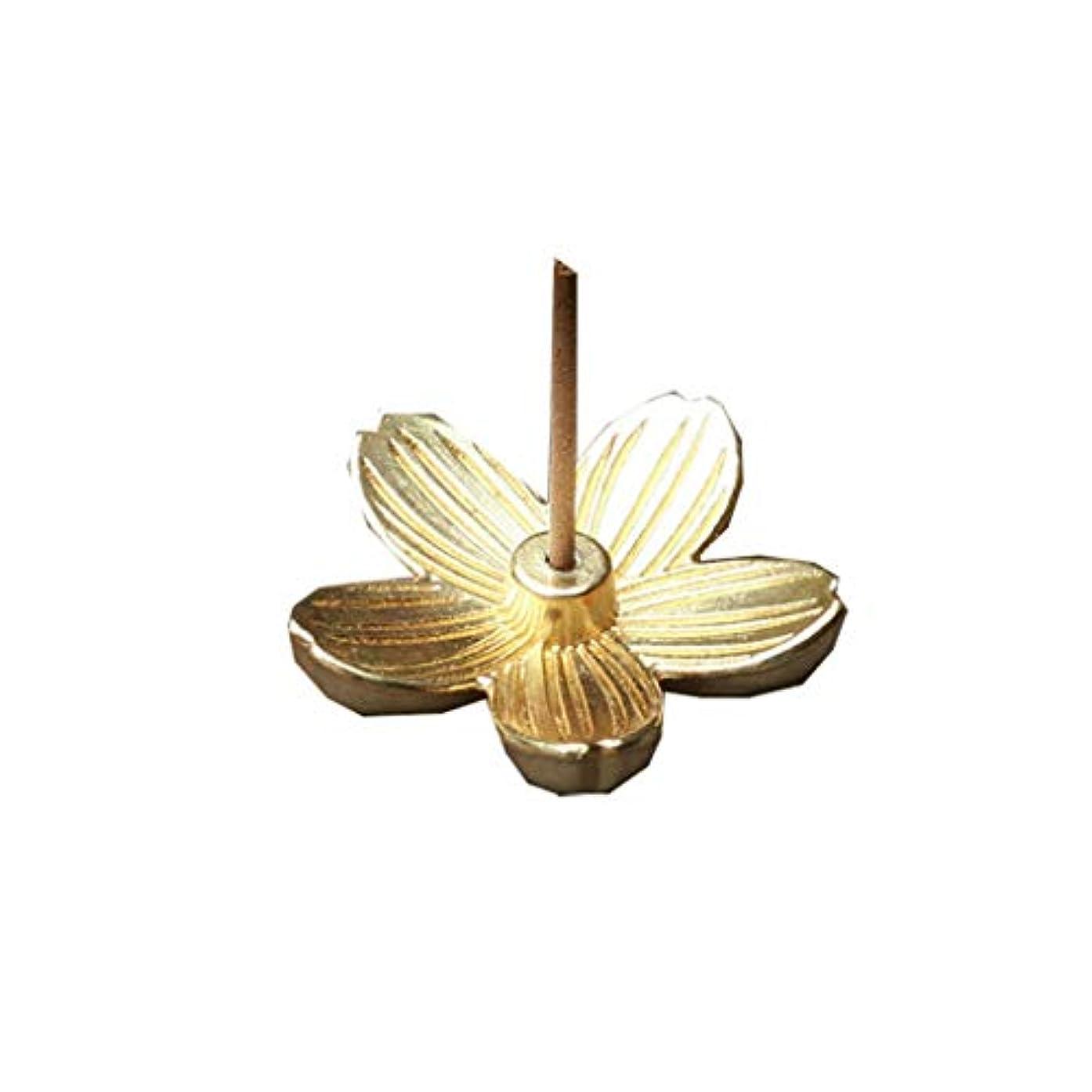 スタッフエイリアス配管クリエイティブヴィンテージ銅アートさくら型の香炉香スティックコーンホルダーホーム仏教の装飾誕生日お香ホルダー (Color : Gold, サイズ : 1.14*1.14inchs)