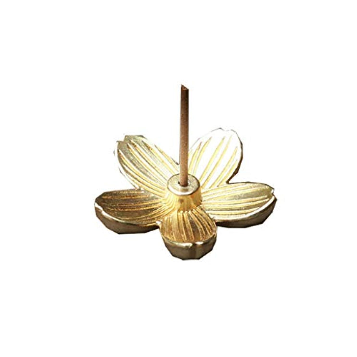 体系的に柔らかい足ビームクリエイティブヴィンテージ銅アートさくら型の香炉香スティックコーンホルダーホーム仏教の装飾誕生日お香ホルダー (Color : Gold, サイズ : 1.14*1.14inchs)