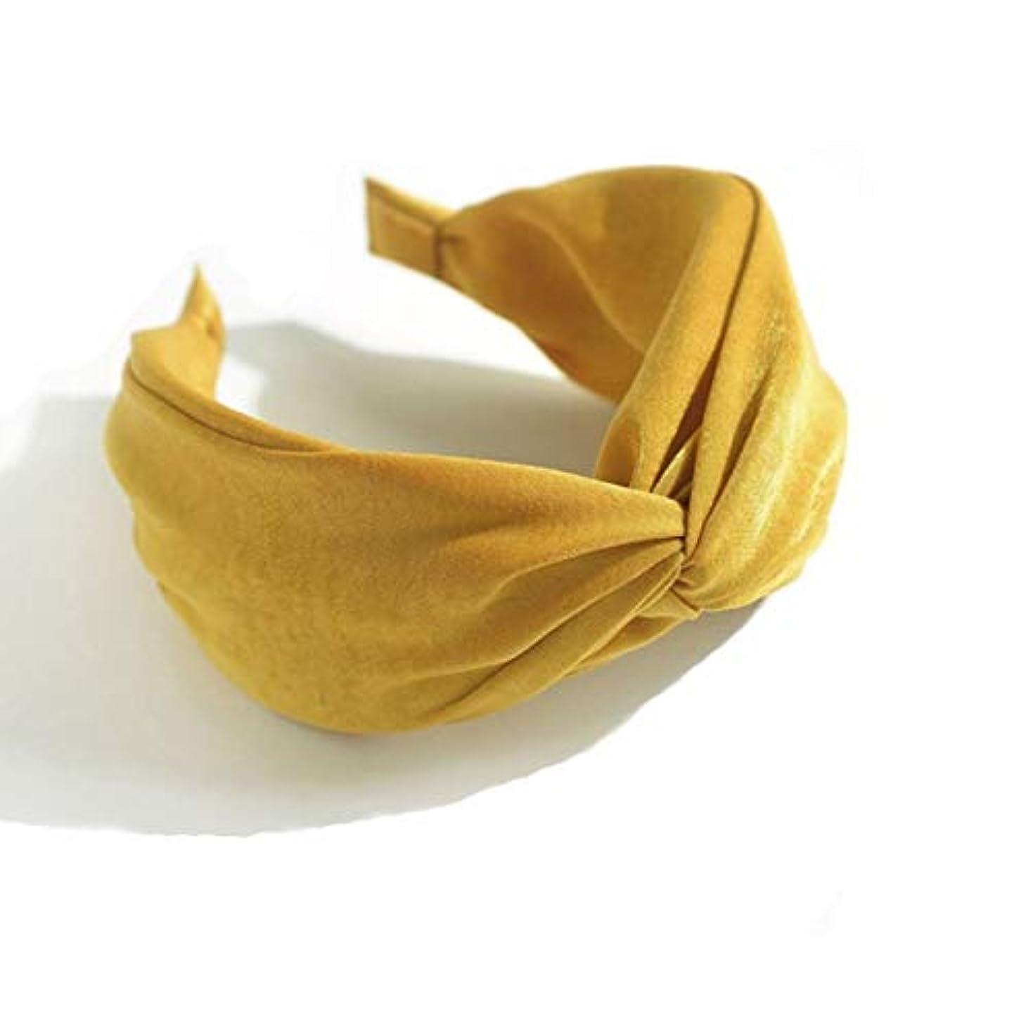 マトロン自分自身溢れんばかりのヘアクリップ、ヘアピン、ヘアグリップ、ヘアグリップ、ヘッドバンドヘッドバンドファブリッククロスワイドヘッドバンドレディレディーワイルドヘアピンヘッドバンド (Color : Yellow)