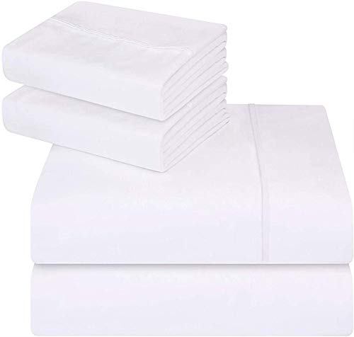 Utopia Bedding 4 Piece Bed Sheet Set (Flat Sheet, Fitted Sheet with 2 Pillowcases) - 100% Brushed Microfibre (Queen, White)