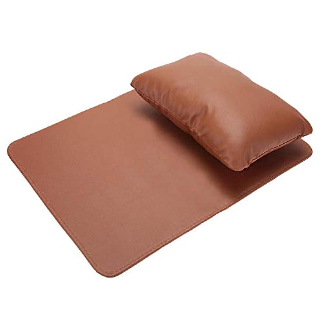 ネイルアートハンド枕、ハンドクッションレストマニキュアサロン美容ソフトPUレザー洗えるハンドレスト枕とマニキュアテーブルマット(Coffee)