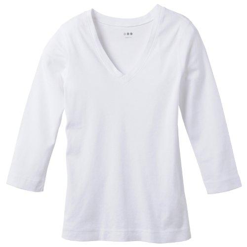 (スリードッツ)THREE DOTS 並行輸入 AMY DEEP V-NECK 3/4 SLEEVE アミー Vネック7分袖Tシャツ AA4V003 WHT WHITE XS
