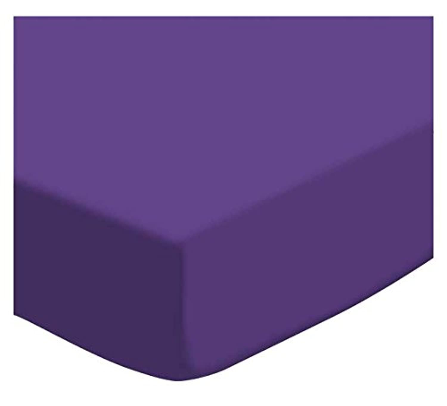 SheetWorld PC-WS12 PC-WS12 Fitted Portable / Mini Crib Sheet - Solid Purple Woven - Made In USA by sheetworld