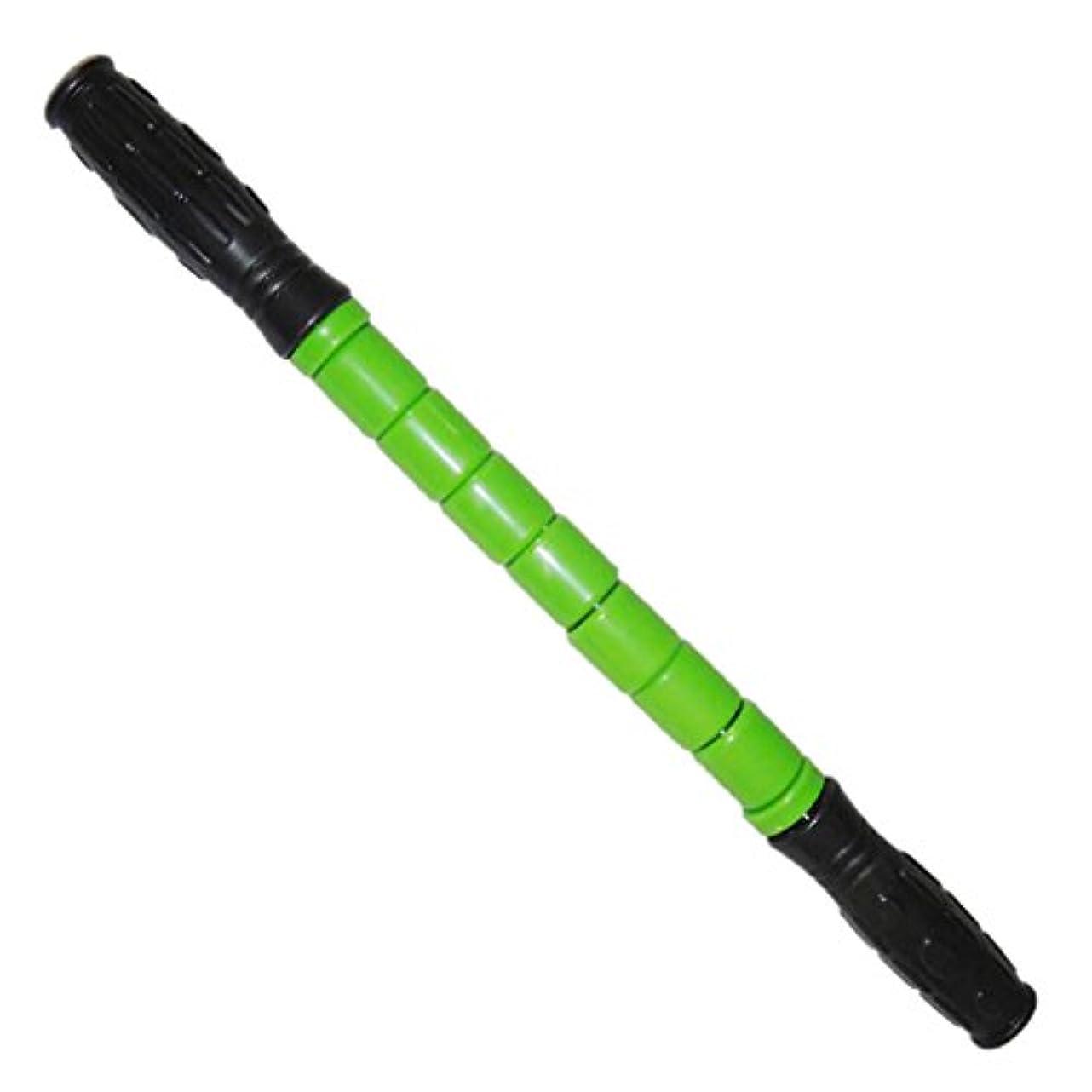 ムス音声学前スティック マッスル マッサージ ローラー 筋肉 グループ 痛み 疲れ 緩和 全3色 - 緑
