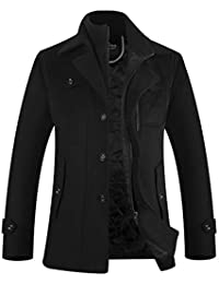 メンズ コート ウール 中綿 暖かい 秋冬 ショートコート ピーコート 衿脱着可 オシャレ アウター