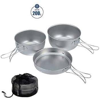 SNOWPEAK スノーピーク 純チタン食器3点セット Titanium Cook Set. 3pcs 〔調理器具 キャンプ用品 クッカー 食器〕 (NC):STW-001T