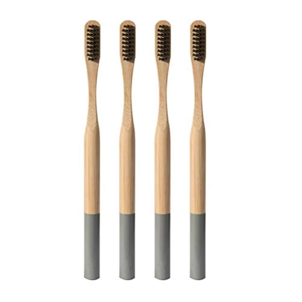 鷹開始設計図Heallily 竹歯ブラシ4ピースソフトブリッスル歯ブラシ生分解性、環境に優しいソフト歯ブラシ、大人用の細い毛を備えた抗菌歯ブラシ(グレー)