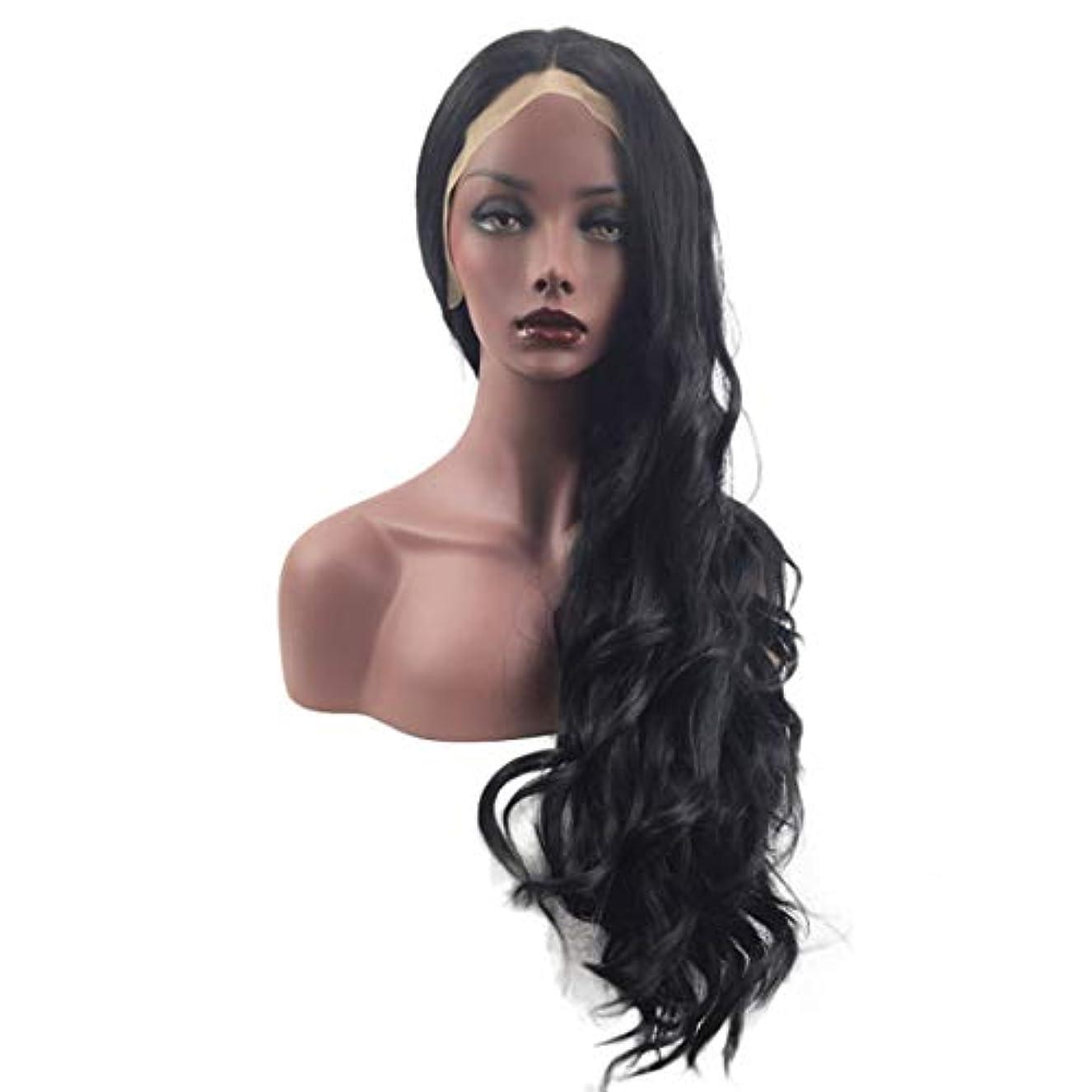 手書きバーマド解体するFuku つけ毛 自然な黒のかつら波状の長い髪のかつら女性のための前髪合成合成耐熱ウィッグなし (色 : 写真の通り)