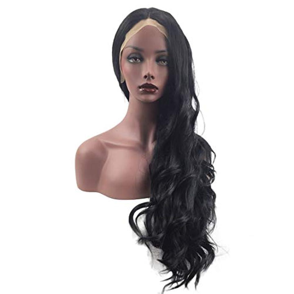 主張するだます高揚したFuku つけ毛 自然な黒のかつら波状の長い髪のかつら女性のための前髪合成合成耐熱ウィッグなし (色 : 写真の通り)