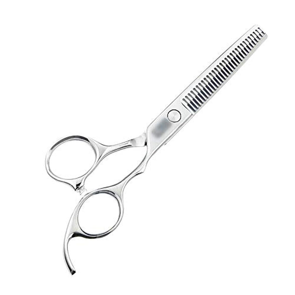 歪める保存飲料Jiaoran 6インチハイグレード440C理髪はさみ、歯の切断、間伐とカットの髪はさみ、美容院プロの理髪はさみ (Color : Silver)