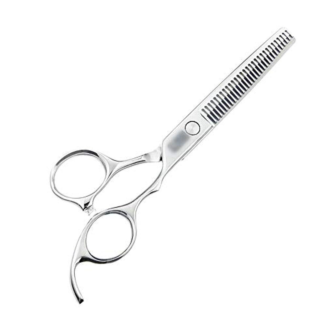 掻く揺れるホットJiaoran 6インチハイグレード440C理髪はさみ、歯の切断、間伐とカットの髪はさみ、美容院プロの理髪はさみ (Color : Silver)
