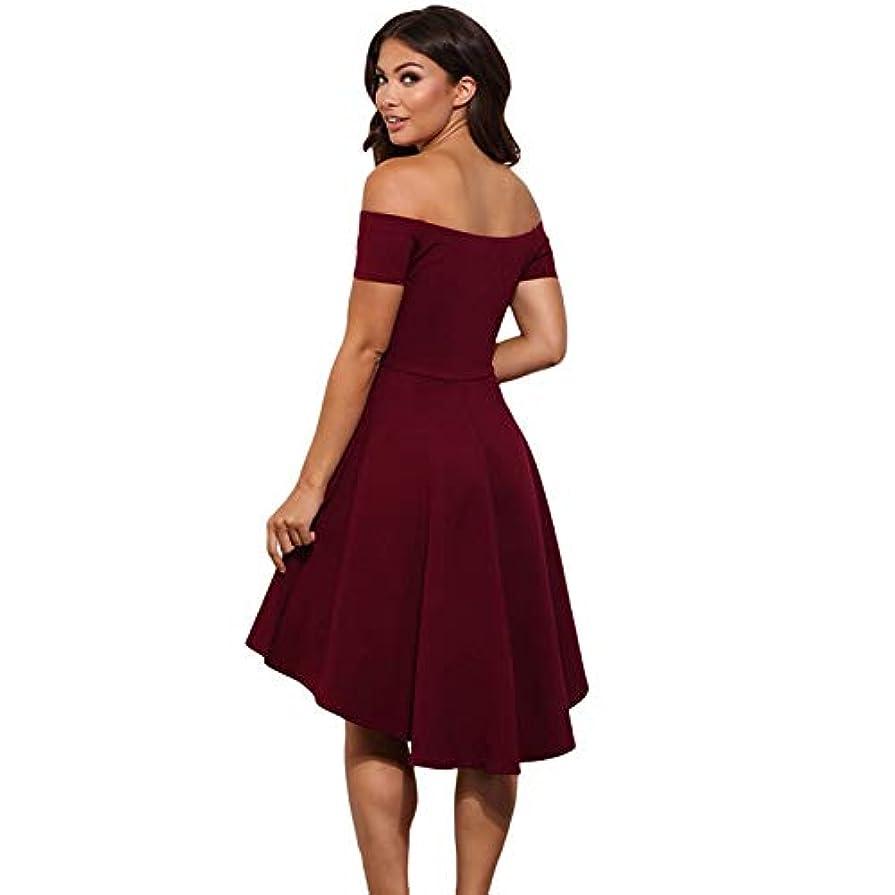 叫び声事故成果Maxcrestas - ヴィンテージ女性のセクシーなスラッシュネックソリッドカラーパーティー秋の新しいファッションAライン黒赤ワイン膝丈のドレスドレス
