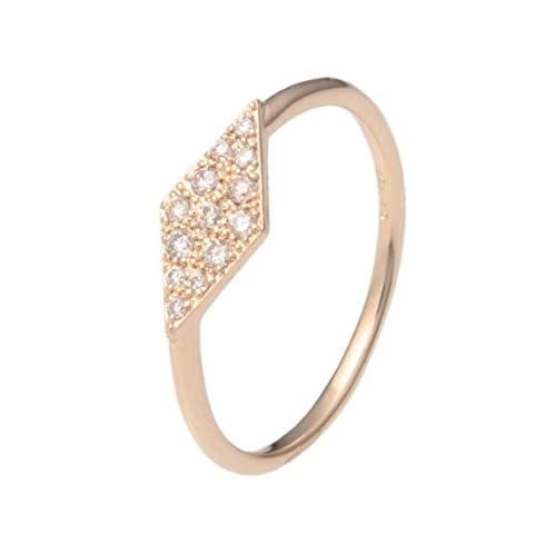 (ココシュニック)COCOSHNIK ダイヤモンドひし形モチーフ パヴェリング イエローゴールド(104) 10