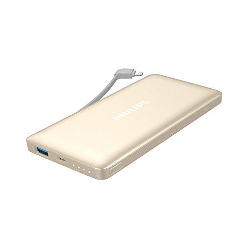 フィリップス 10,000mAh 大容量 モバイルバッテリー アップル認証 ライトニングケーブル内蔵 薄型 DLP6100 (ゴールド)