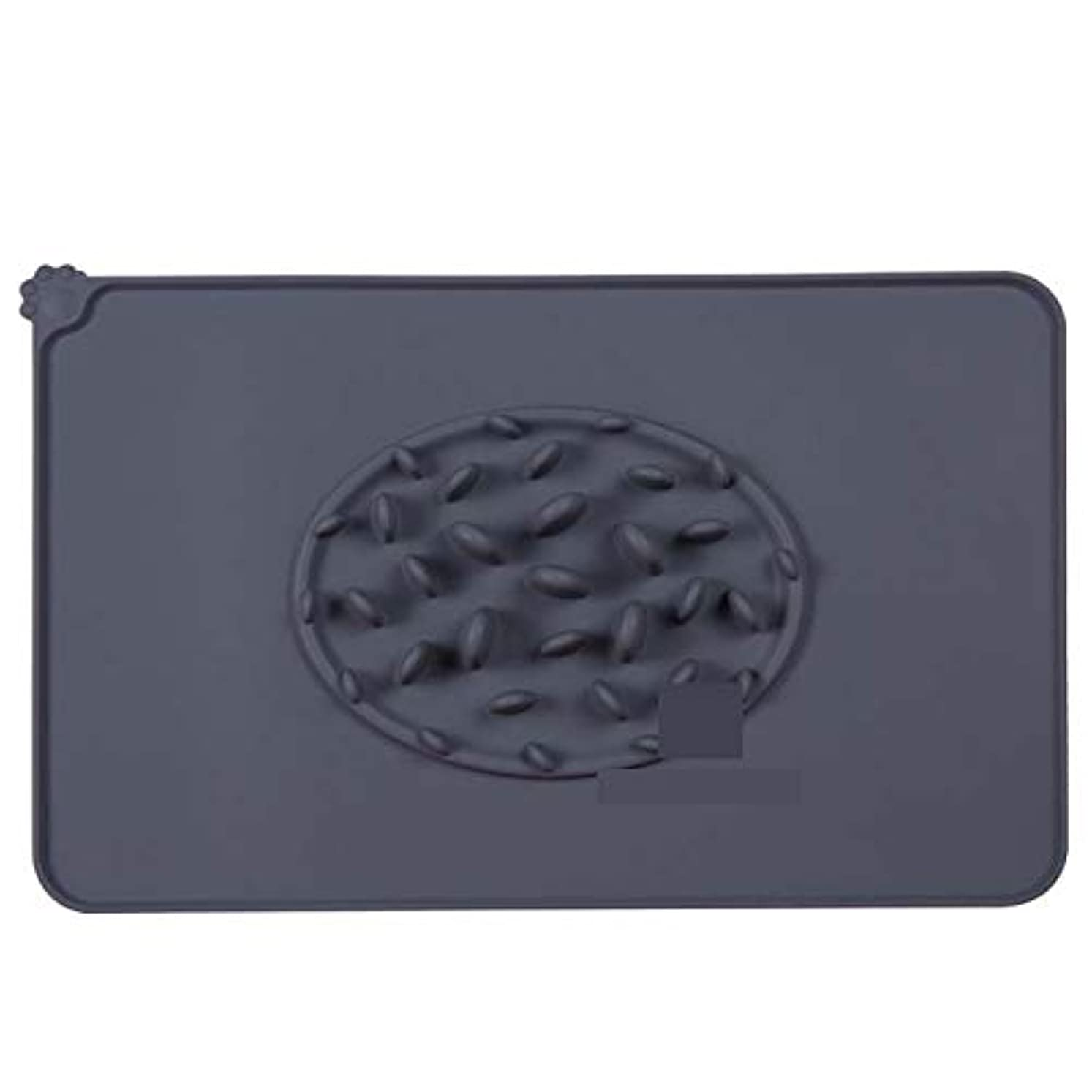 SUYPITE Silicone Dog Food Mat Slow Eating Pet Feeding Mat Placemat for Food and Water,Waterproof Non-Slip Fo (グレー)