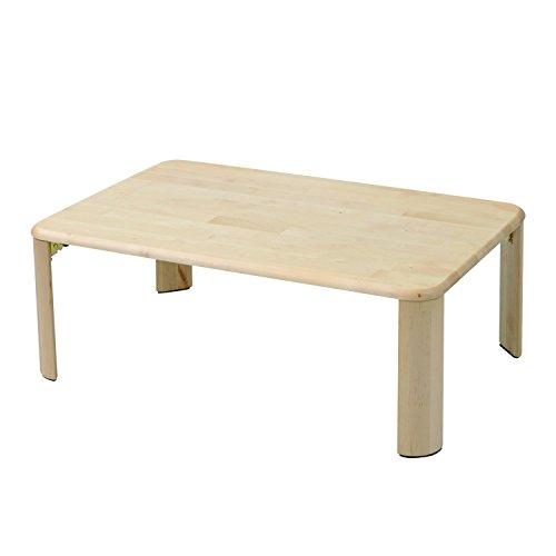 山善(YAMAZEN) テーブル 折りたたみ 幅90 奥行60 折れ脚 天然木 パイン材 耐荷重35kg 完成品 TMT-9060(NA)