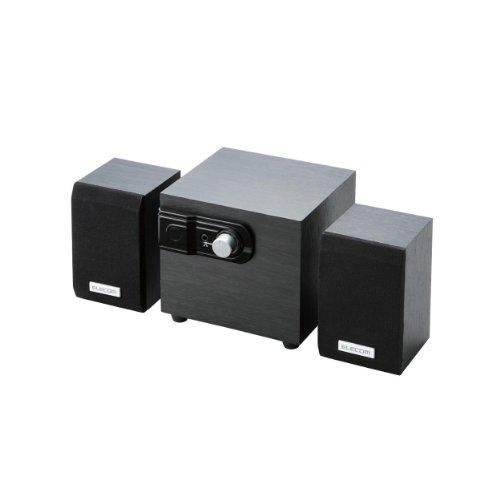 エレコム スピーカー 12W 2.1ch 木製 ブラック MS-W02WBK