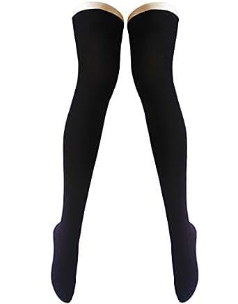 OUFANCY 2足組セット(4枚) ブラック Black オーバーニーソックス ロングソックス ハイソックス 綿 保温 防寒 レディース サイハイソックス 美脚 無地 通学 通勤 靴下