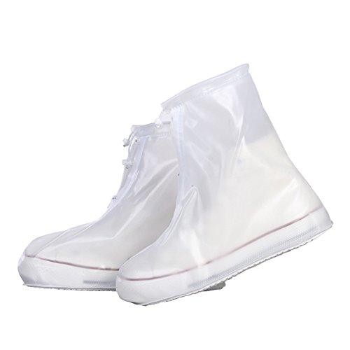 [テンカ] シューズカバー 防水 携帯可 雪 雨 梅雨対策 半透明 ブーツ レインブーツ レインカバー 靴カバー 通勤 通学 レインシューズ 男女兼用 白 M