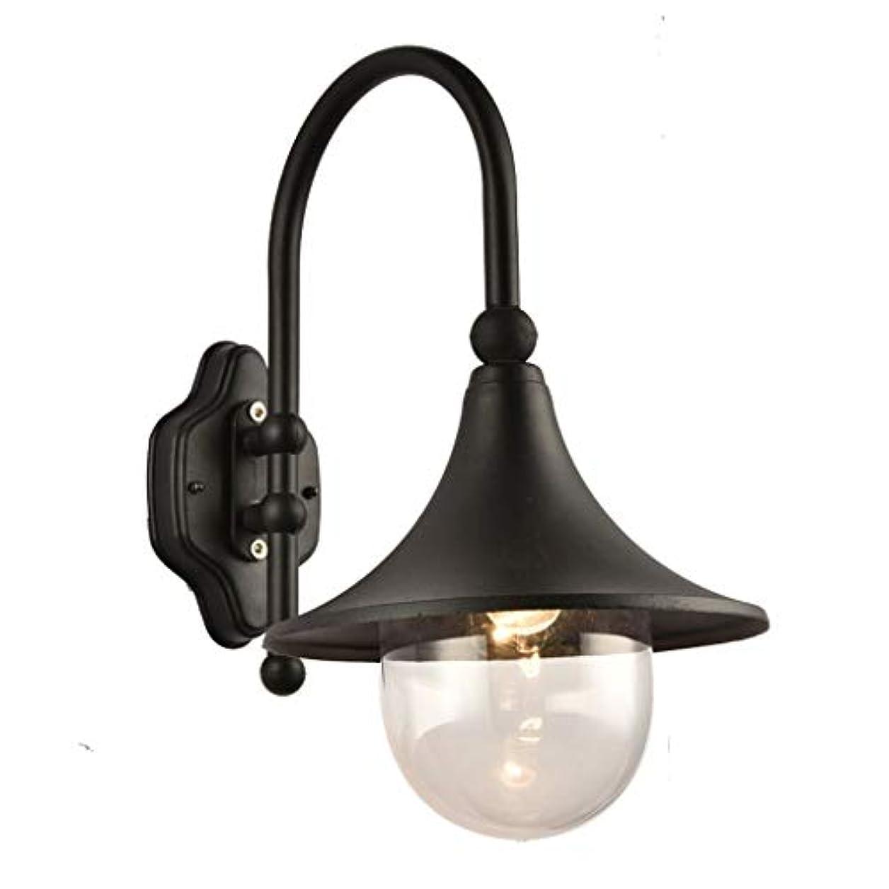 やめる予備ジョリーLGM- レトロE27壁取り付け用燭台屋外防水ホーンウォールランプガーデンコートヤードヴィンテージ工業用ウォールライト照明器具 (Color : Black)