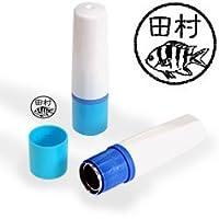 【動物認印】魚ミトメ25・ロクセンスズメダイ ホルダー:ブルー/カラーインク: 黒