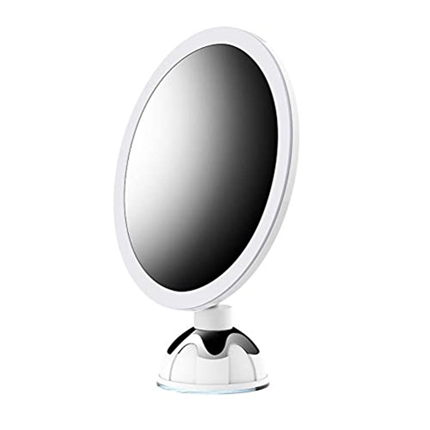 撤退残酷外側(2019改良版)10倍拡大鏡 LED化粧鏡 浴室鏡 卓上鏡 ミラー 吸盤ロック付き LEDミラー 壁掛けメイクミラー 360度回転スタンドミラー 単3電池&USB給電
