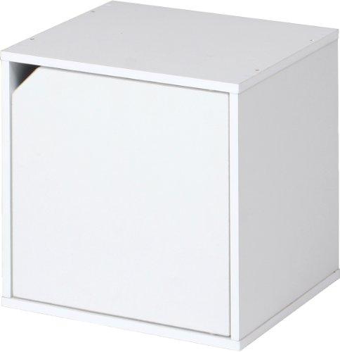 不二貿易 キューブボックス 扉付き 幅34.5cm 組換え自由 ホワイト 81907