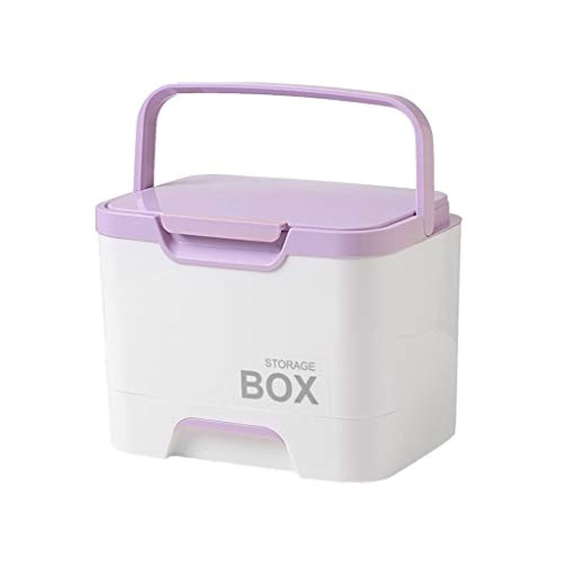 薬箱多機能大型ポータブル家庭用薬収納応急処置キット階層化デザイン使いやすい4色 SYFO (Color : Purple)