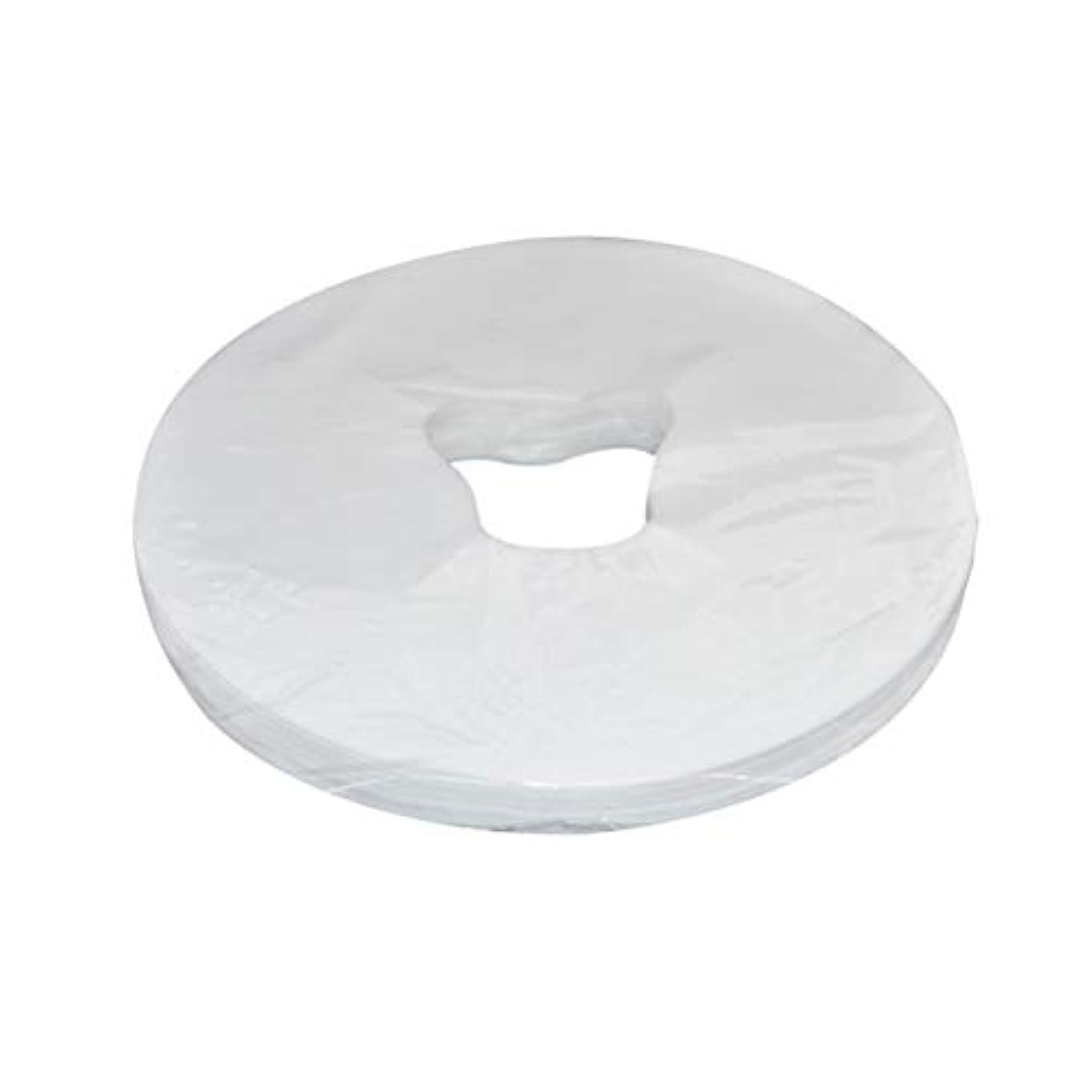 花瓶群衆予測Healifty 29x28cm使い捨てフェイスマッサージカバーフェイスホールピローパッド100枚(ホワイト)