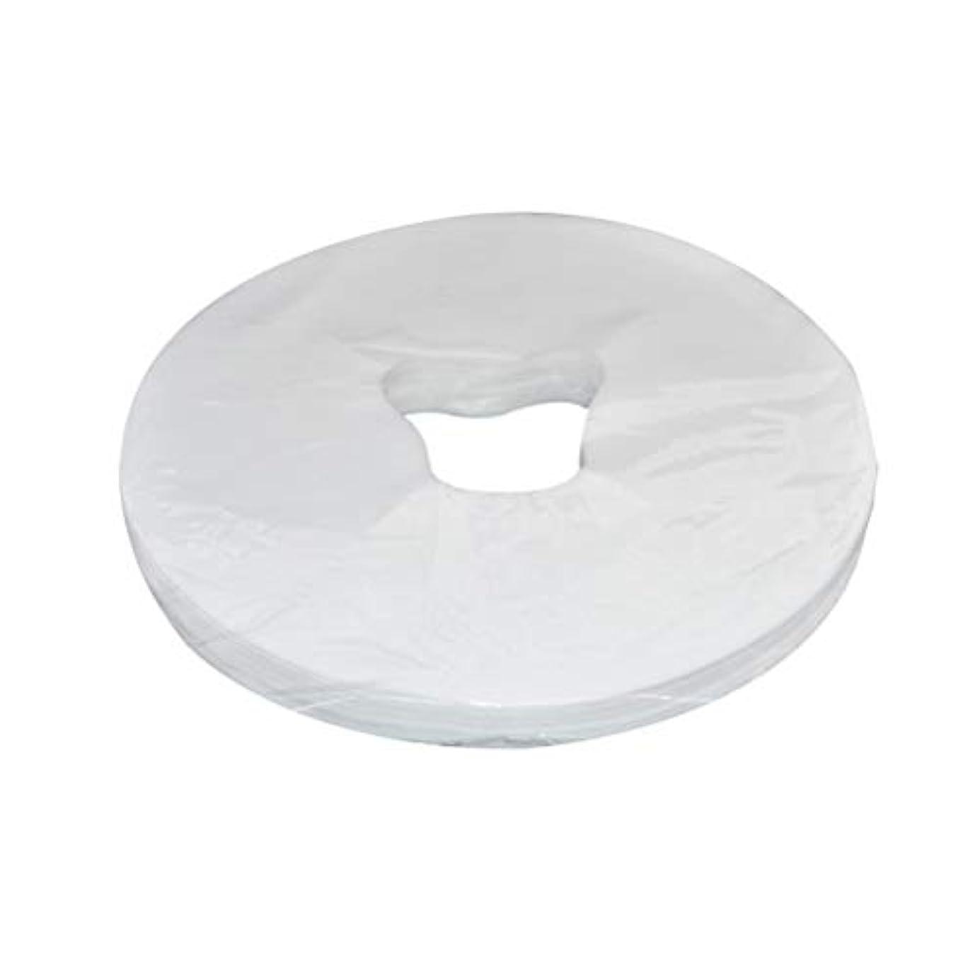 コーナー反対するトランクライブラリHealifty 29x28cm使い捨てフェイスマッサージカバーフェイスホールピローパッド100枚(ホワイト)