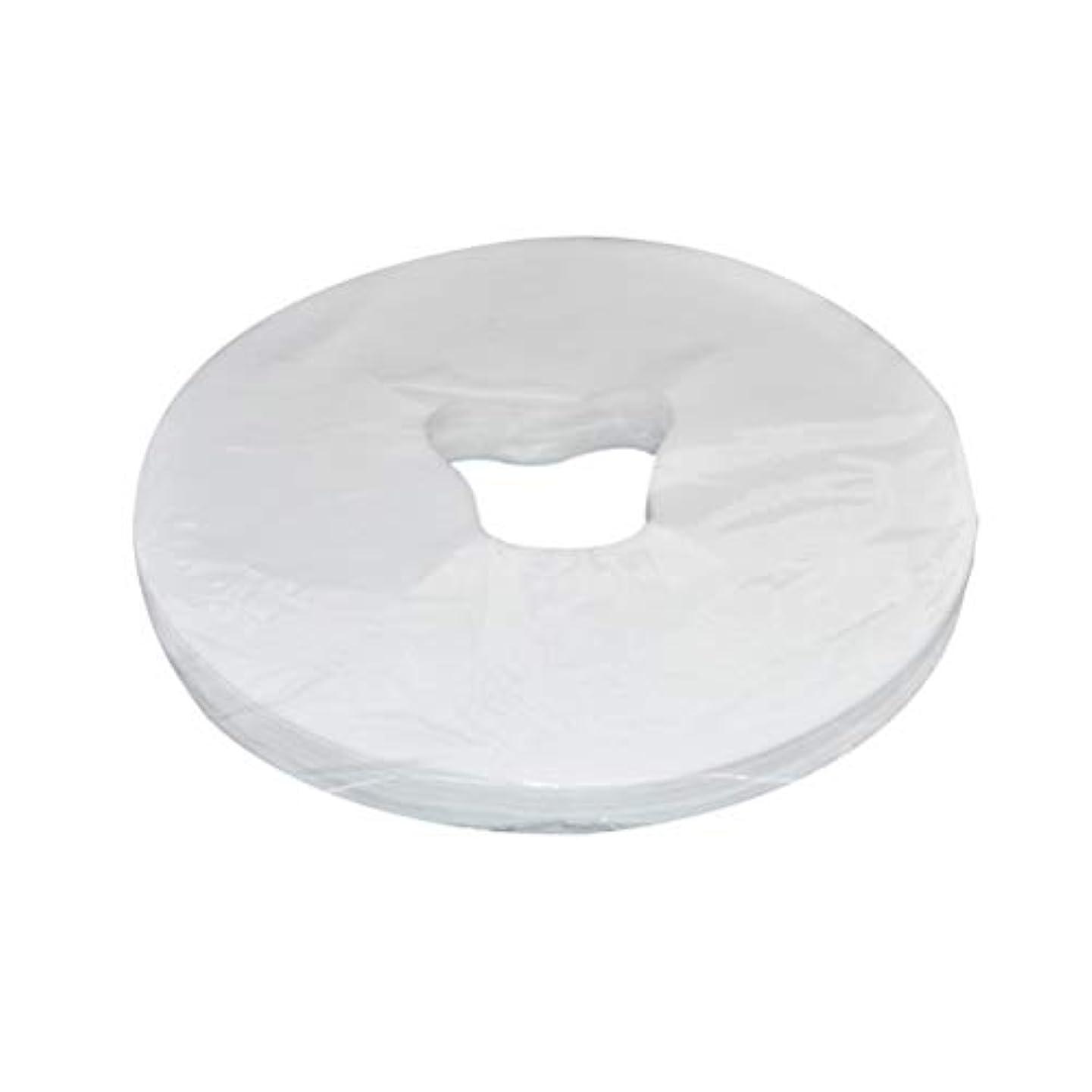 スペイン語エッセイ成功したHealifty 29x28cm使い捨てフェイスマッサージカバーフェイスホールピローパッド100枚(ホワイト)