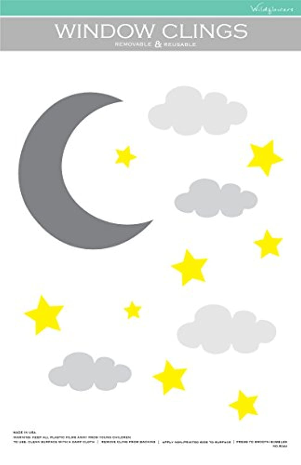 Moon Stars and Clouds Window Cling ( no。8244 )