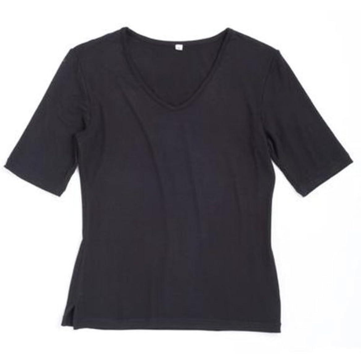 酸っぱいプロットグラマー竹スタイル Vネック半袖Tシャツ レディース ブラック L