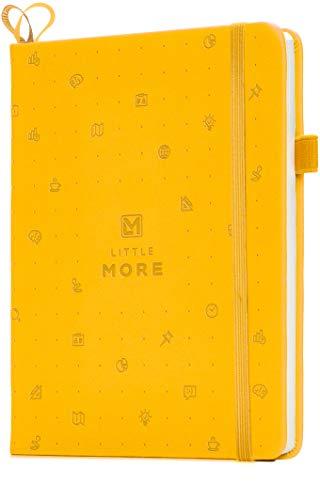 Bullet Journal ドットグリットノートブック - ドット入りノート/ジャーナル 厚紙のハードカバー付き - レザーポケットバレットプランナー (7*5,5) / ページ番号& ペンループ付きダイアリー 女性および女児向き+ステッカー (黄色)