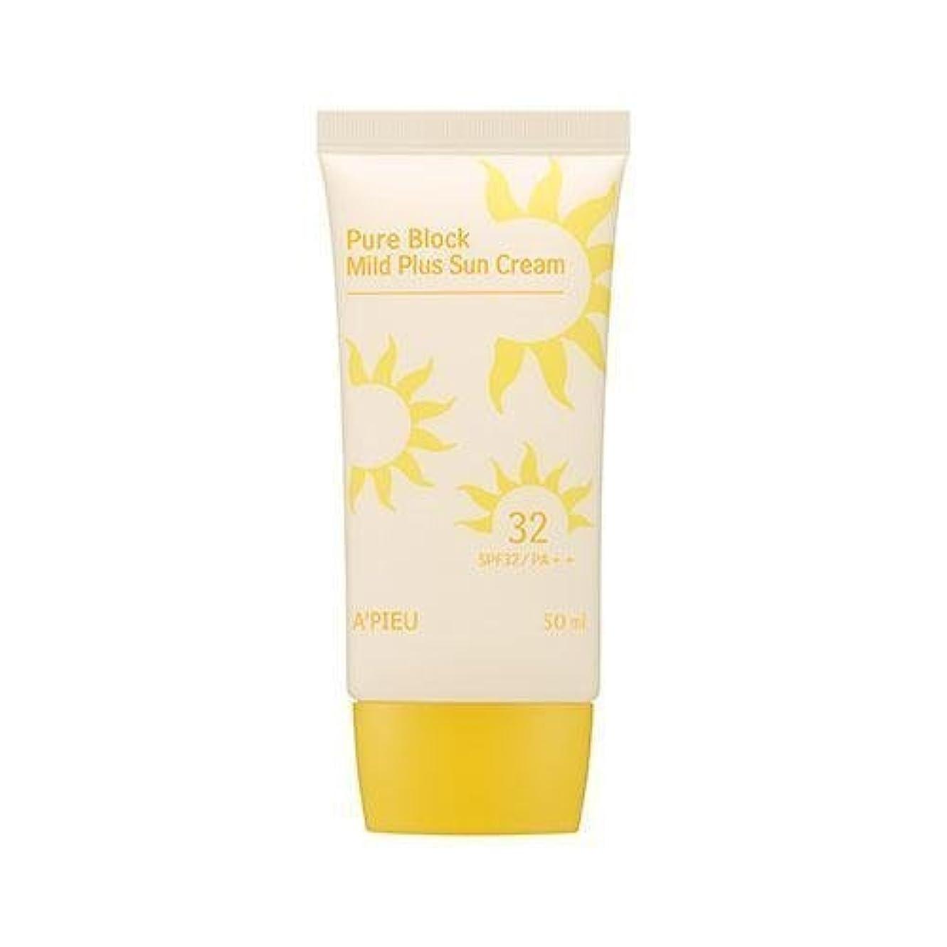 中国コーナーまろやかなAPIEU Pure Block Mild Plus Sun Cream (SPF32/PA++)/ Made in Korea
