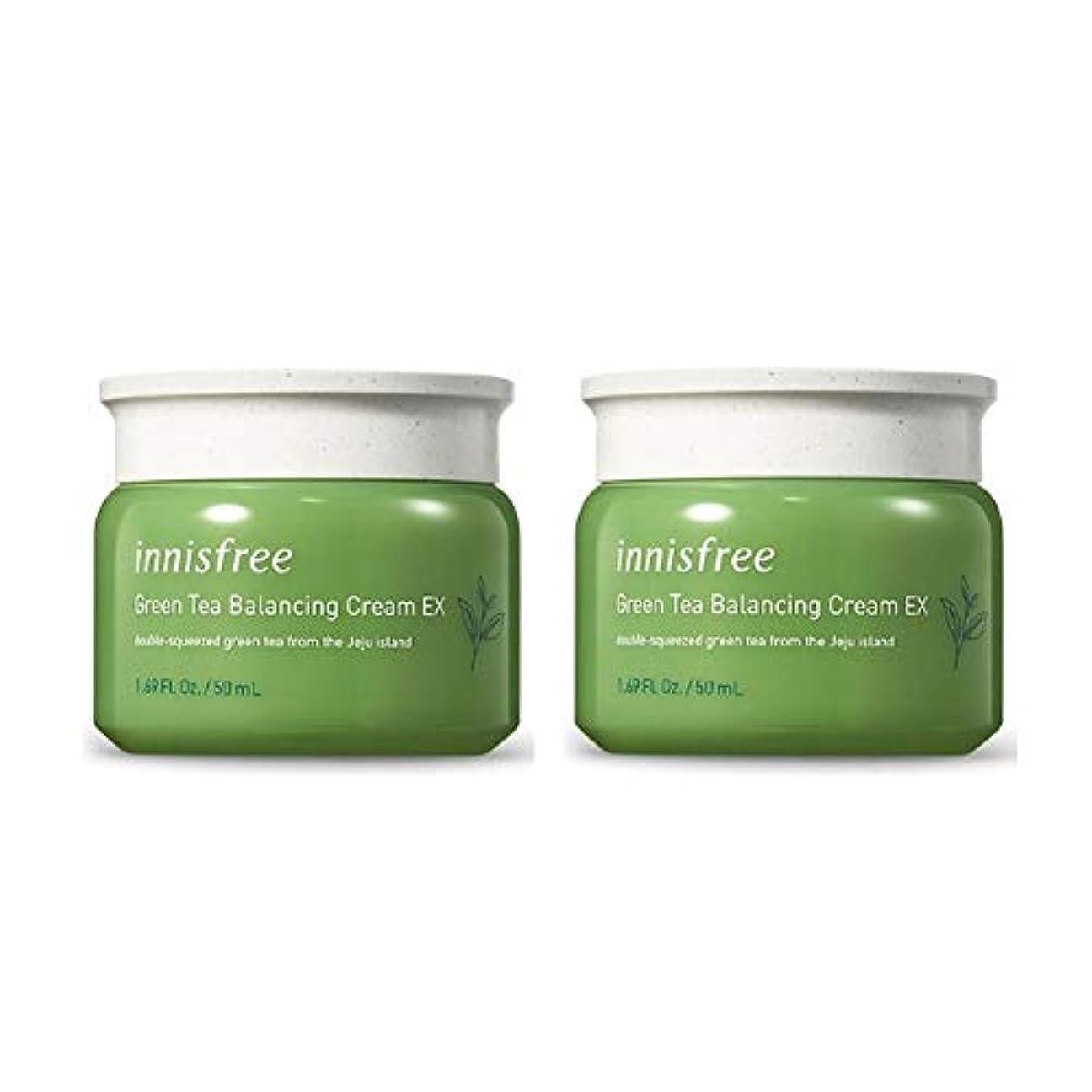 最適大佐ファンシーイニスフリーグリーンティーバランシングクリームEX 50mlx2本セット韓国コスメ、innisfree Green Tea Balancing Cream EX 50ml x 2ea Set Korean Cosmetics [並行輸入品]
