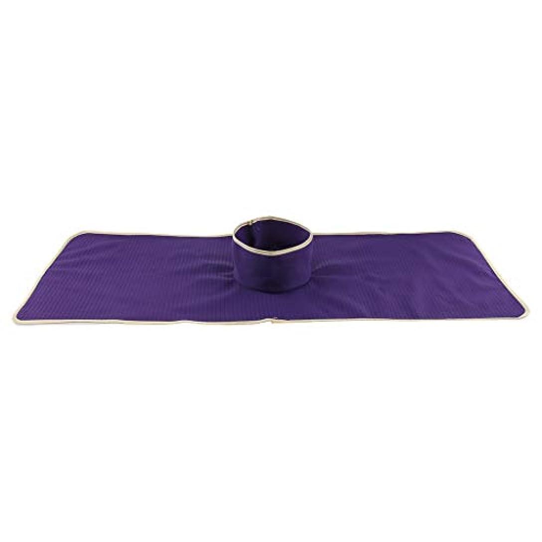 ストリップ紳士典型的なサロン 美容院 マッサージのベッド パッド 穴付き 洗える 約90×35cm 全3色 - 紫